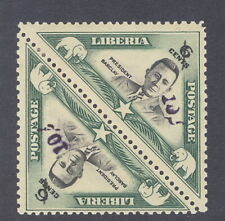 "Liberia 1944-5, ""10c"" overprint on pair 6c President Barclay triangle, #295"