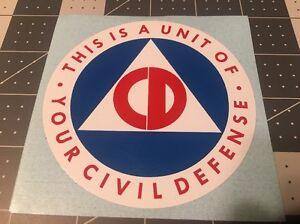 "Civil Defense Unit Decal Tool ID 3 3/4"" Like Original Vinyl Reproduction"