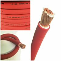 1/0 AWG 0 Gauge Battery Cable Red By the Foot OFC Copper Power Wire Made in USA