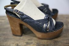 Vtg 60s 70s Sbicca Women's Black Wood Platform Open Toe Sandals Shoes High Heel