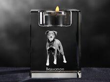 Beauceron, crystal candlestick with dog, souvenir, Crystal Animals Usa