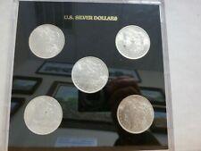 5 Coin Set Morgan Silver Dollar Coins in Capital Plastic Holder