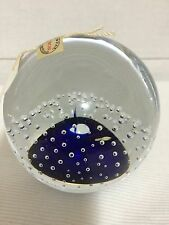 "Wykonano Polsce Controlled Bubble Round Clear Cobalt Blue Paperweight  3"" Tall"