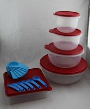 Tupperware Round Mixing Bowl Set & Square Container -Red & Blue & Measuring Cups