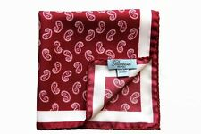 Battisti Pocket Square Red with white/navy paisley, pure silk