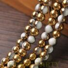 New 72pcs 8mm Round Glass Loose Spacer Beads Porcelain White Half Gold