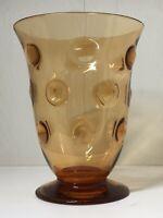 Vintage Art Deco Large Thomas Webb Bulls Eye Amber Glass Vase Signed To Base