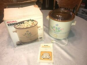NOS NIB Vintage Rival Crock Pot 3100 Floral 3.5 QT Slow Cooker Glass Lid