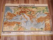 VERY LARGE nice Wall Map Mediterranean Lands 1950s Vintage Decorative Linen Fold