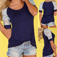 Fashion Women Summer Blouse Loose Casual Tops Lace T-Shirt Tee Short Sleeve New