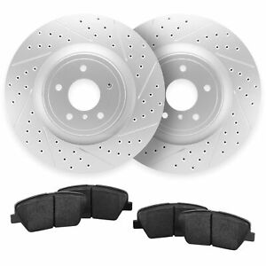 For 2015-2018 Volkswagen Golf R,GTI Front Drill Slot Brake Rotors + Ceramic Pads