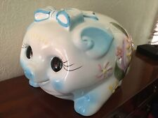 "13"" Gigantic plump baby piggy bank retro vintage handpainted ceramic pink blues"