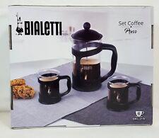 BIALETTI 6 Cup  FRENCH COFFEE PRESS (27 fl oz) BLACK 3 Piece Set NEW in BOX