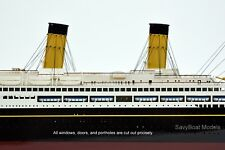 "RMS Majestic White Star Ocean Liner Handmade Wooden Ship Model 38"" Scale 1:300"