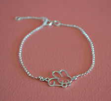 "925 Sterling Silver Rabbit Bunnie Bracelet- 7"" Bunny Rabbit Bracelet w Extension"