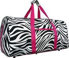 "22"" Women's Zebra Print Gym Dance Cheer Travel Carry On Duffel Bag - Pink"