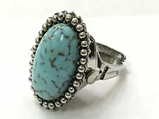 Vintage Kingston 17jewels SilverTone Turquoise  Oval Shaped Finger Ring Watch(KN