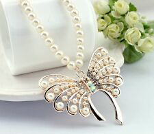 Koren Style Beautiful Butterfly Pendent Full Pearl Long Sweater Necklace