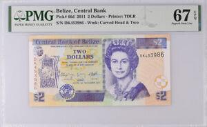 Belize 2 Dollars 2011 P 66 d Superb GEM UNC PMG 67 EPQ