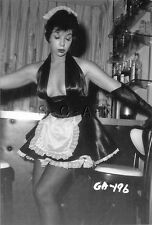 1940s-60s (4 x 6) Repro Risque Pinup RP- Maid- Skirt- Gloves- Stockings- Bar