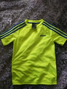 Adidas Climalite Neon Yellow And Blue T-shirt Short Sleeved Youth Medium sports