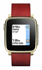 Pebble Time Steel 38mm Stainless Steel Case Red Classic Buckle - (511-00036)