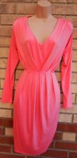 LILI LONDON PINK RUCHED TULIP A LINE LONG SLEEVE LYCRA PARTY CASUAL TEA DRESS 12