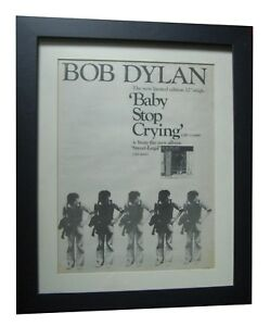 BOB DYLAN+Baby Stop Crying+POSTER+AD+RARE ORIGINAL 1978+FRAMED+FAST GLOBAL+SHIP