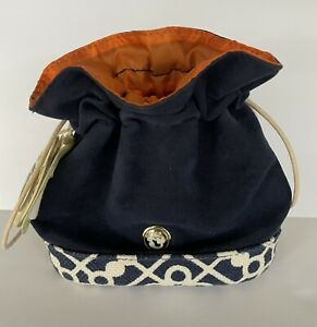 New SPARTINA 449 Keepsake Drawstring Navy Jewelry/Makeup Bag Pouch