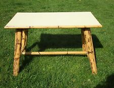 Vintage Large Coffee Side Table Bamboo Legs Light Yellow Top Authentic