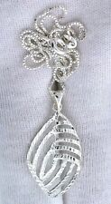 """1 1/5 Inch Freeform Marquise 925 Italian Sterling Silver 18"""" Chain Pendant  PSP1"""