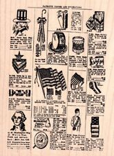 Tim Holtz Collection Patriotic favors & Decor wood mounted Rubber stamp - New