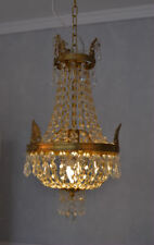 Kristallleuchter Kronleuchter Deckenlüster Korb Messing Glas Antik Barock Empire