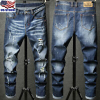 Men's Distressed Ripped Destroyed Denim Pants Jeans Slim Cargo Long Trousers US