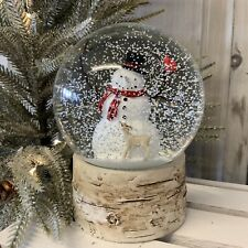 Snowman Deer Glass Christmas Snow Globe Dome Woodland Scene Vintage Gift