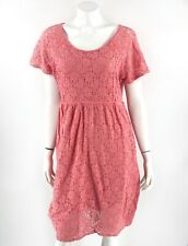 Motherhood Maternity Dress Plus Size 1X Pink Lace Short Sleeve Lined Zip Womens