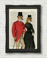 FOX HUNTERS COUPLE VINTAGE DICTIONARY PAGE ART PRINT FOXES  STEAMPUNK WALL ART