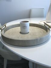 More details for truly luxe medium round ivory shagreen tray-used