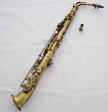 Professional Antique Straight Alto Saxophone Eb Saxello Sax High F# Leather Case