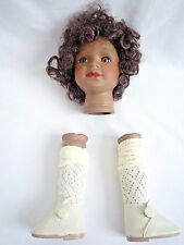CERAMIC AFRICAN / ETHNIC DOLLS HEAD & LEGS DOLL MAKING PARTS
