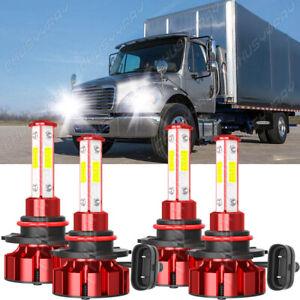 4-Sided 9005+9006 LED Headlight Bulbs For 2002-2016 Freightliner M2 100 106 112