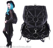 Restyle Geometry Rucksack Gothic Kunst-Leder Steampunk Tasche Bag Black Backpack