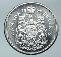 1964 CANADA Queen Elizabeth II Arms Crown VINTAGE SILVER 50 Cents Coin i85932