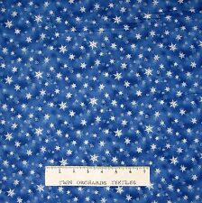 Christmas Fabric - Holiday Accents Small Snowflake Toss on Blue - RJR YARD