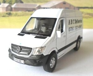 PERSONALISED PLATES & COMPANY NAME White Mercedes Sprinter Van Toy Model Present