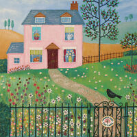 Cherry Tree Cottage Square Blank Greeting Card by Artist Jo Grundy Art Cards