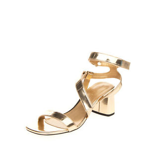 RRP €195 KENDALL + KYLIE Leather Ankle Strap Sandals Size 38 UK 5 US 7 Metallic