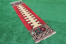 Turkish Kilim Rug 30''x119'' Oushak Runner Kilim Corridor Kilim Hallway Rug Wool