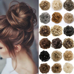Natural Messy Bun Scrunchie Thick Hair Peice Curly Chignon Updo Hair Extension 5