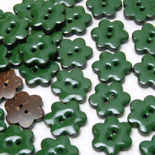 B559 Enamel Coconut Green Flower Sewing Craft Shell Buttons 15mm 30pcs